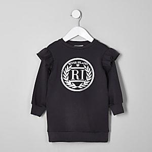 Mini - Donkergrijze trui-jurk met RI-logo en ruches voor meisjes