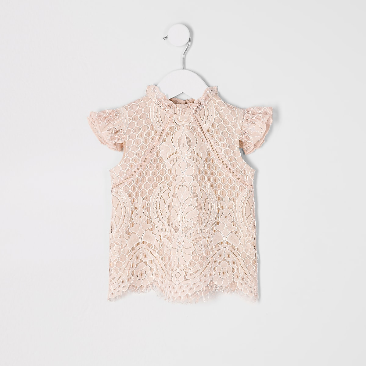 Mini girls pink lace top