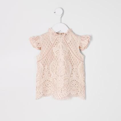 Mini girls pink lace top