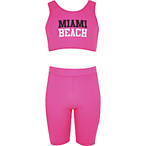 Girls pink cycling short bikini set
