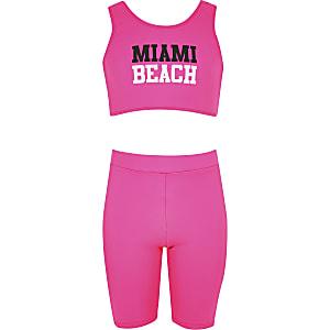 Roze bikiniset met wielrenshort voor meisjes