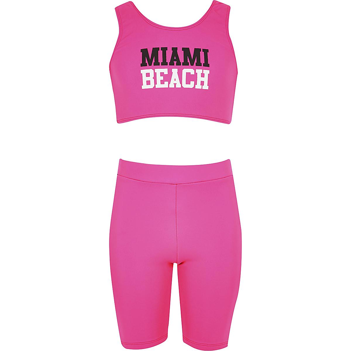 Girls pink cycling short bikini set