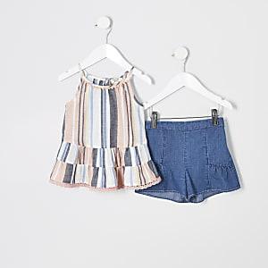 Mini - Outfit met roze gestreepte camitop voor meisjes