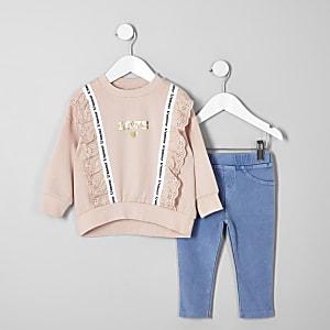 Mini girls coral lace trim sweatshirt outfit