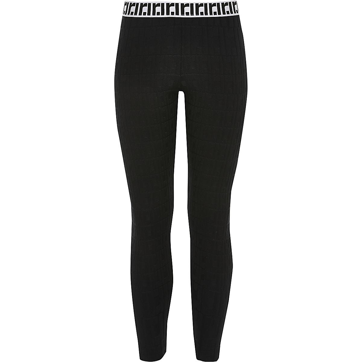 Zwarte legging met RI-monogram voor meisjes