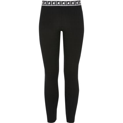 Girls black RI monogram leggings
