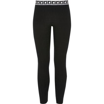 Girls black RI monogram leggings