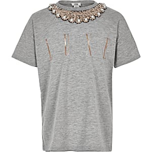 Girls grey embellished trim T-shirt