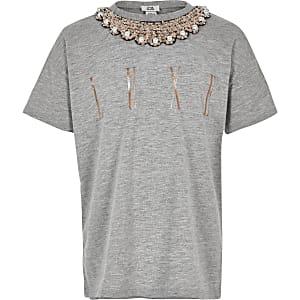 T-shirt gris à ornements sur la bordure pour fille