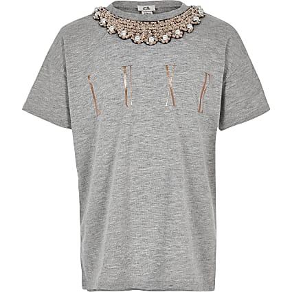Girls grey embellished trim T-shirt
