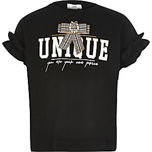 T-shirt noir avec nœud sur le devant pour fille
