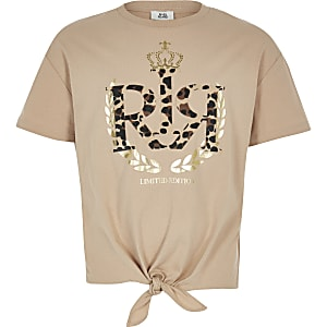 Girls brown RI leopard print T-shirt