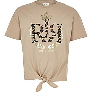 T-shirt léopard marron à logo RI pour fille