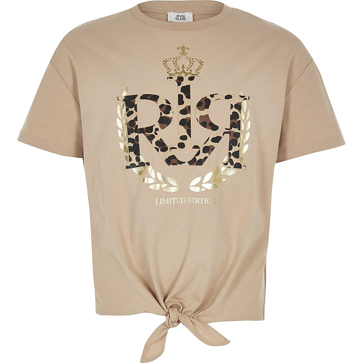 a0d5566741705 T-shirt léopard marron à logo RI pour fille - T-shirts - Tops - Fille
