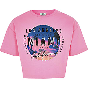 Girls pink 'Miami' embellished T-shirt