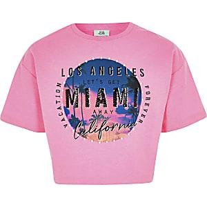 Roze verfraaid T-shirt met 'Miami'-print voor meisjes