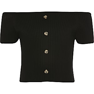 Girls black knitted bardot top