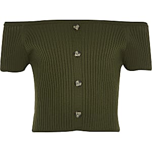 Girls khaki knitted bardot top