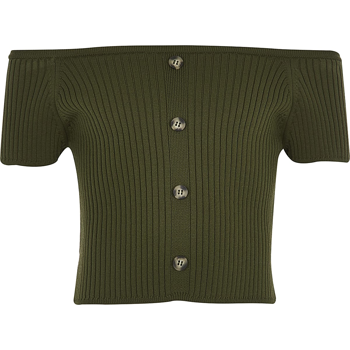 Girls khaki knitted bardot top