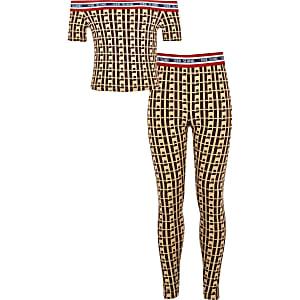 Girls brown RI monogram bardot top outfit