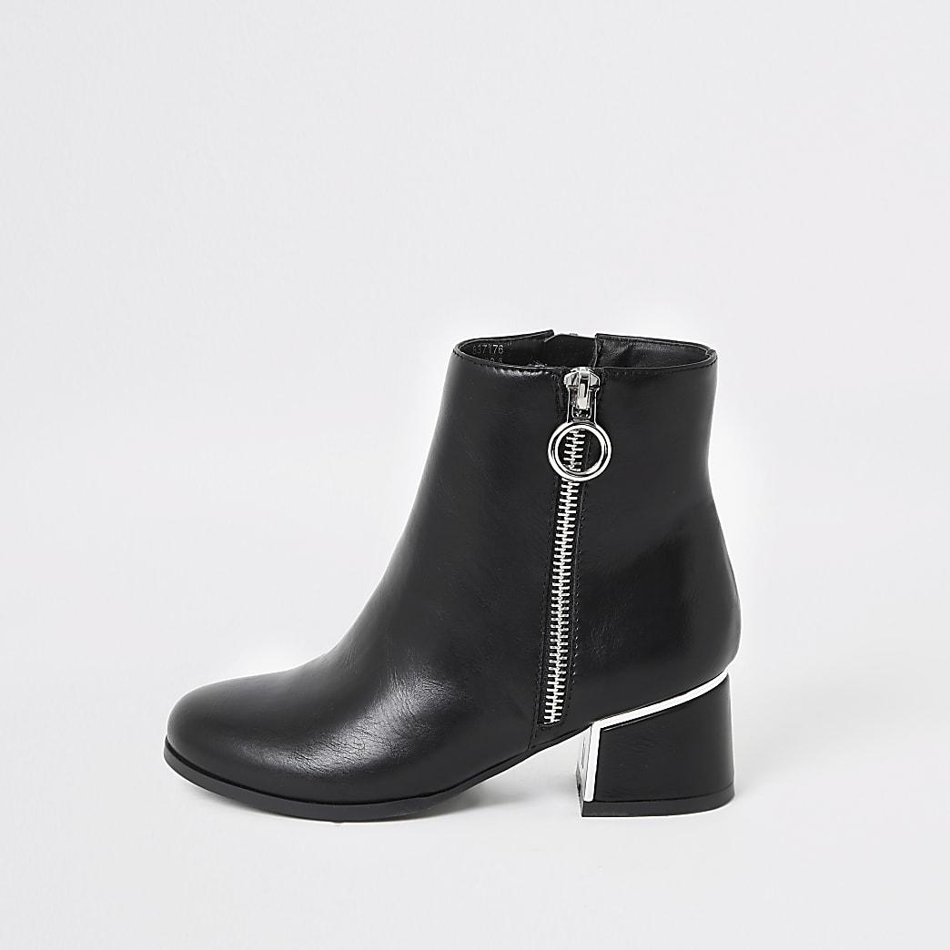 Girls black block heel boots