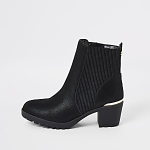 Girls black ribbed heel boots
