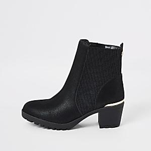 Zwarte geribbelde laarzen met hak voor meisjes