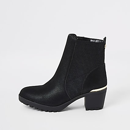 Girls black ribbed heeled boots