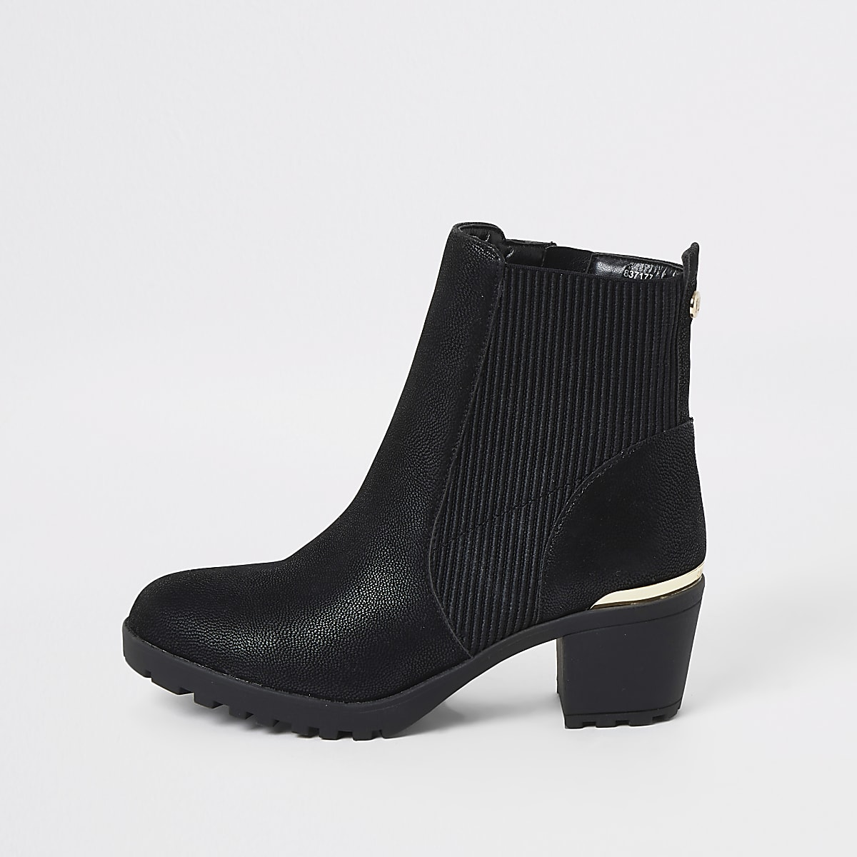 17665cc60cc Girls black ribbed heel boots