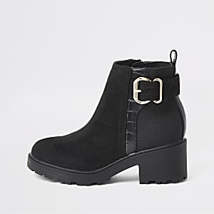 Girls black buckle detail boots