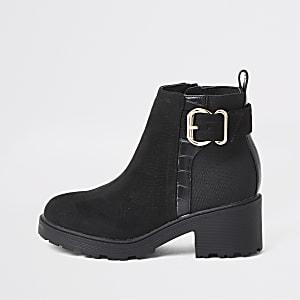 Zwarte laarzen met gesp en hak voor meisjes