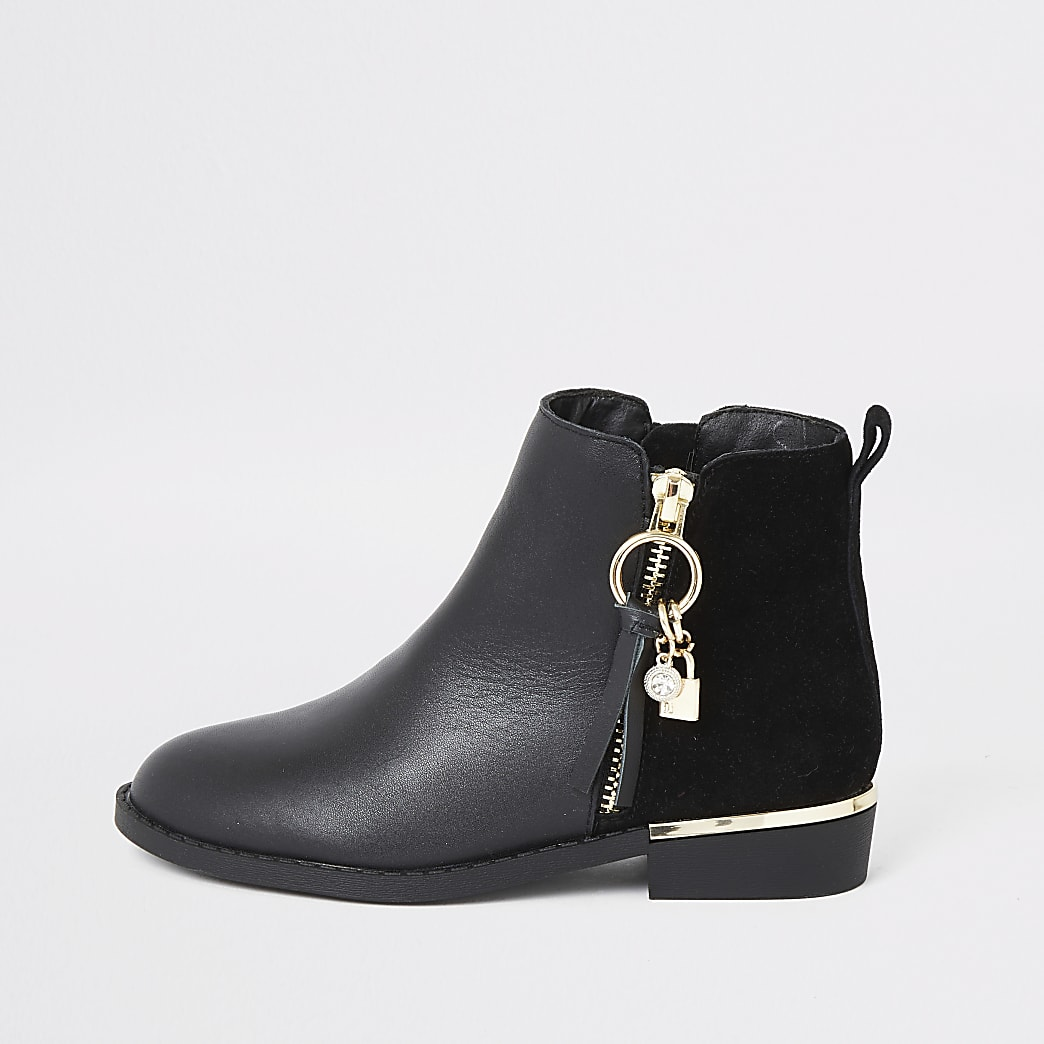 Girls black leather locket boots