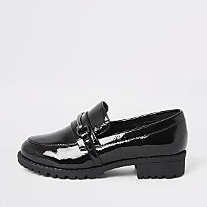 Zwarte lakleren loafers voor meisjes