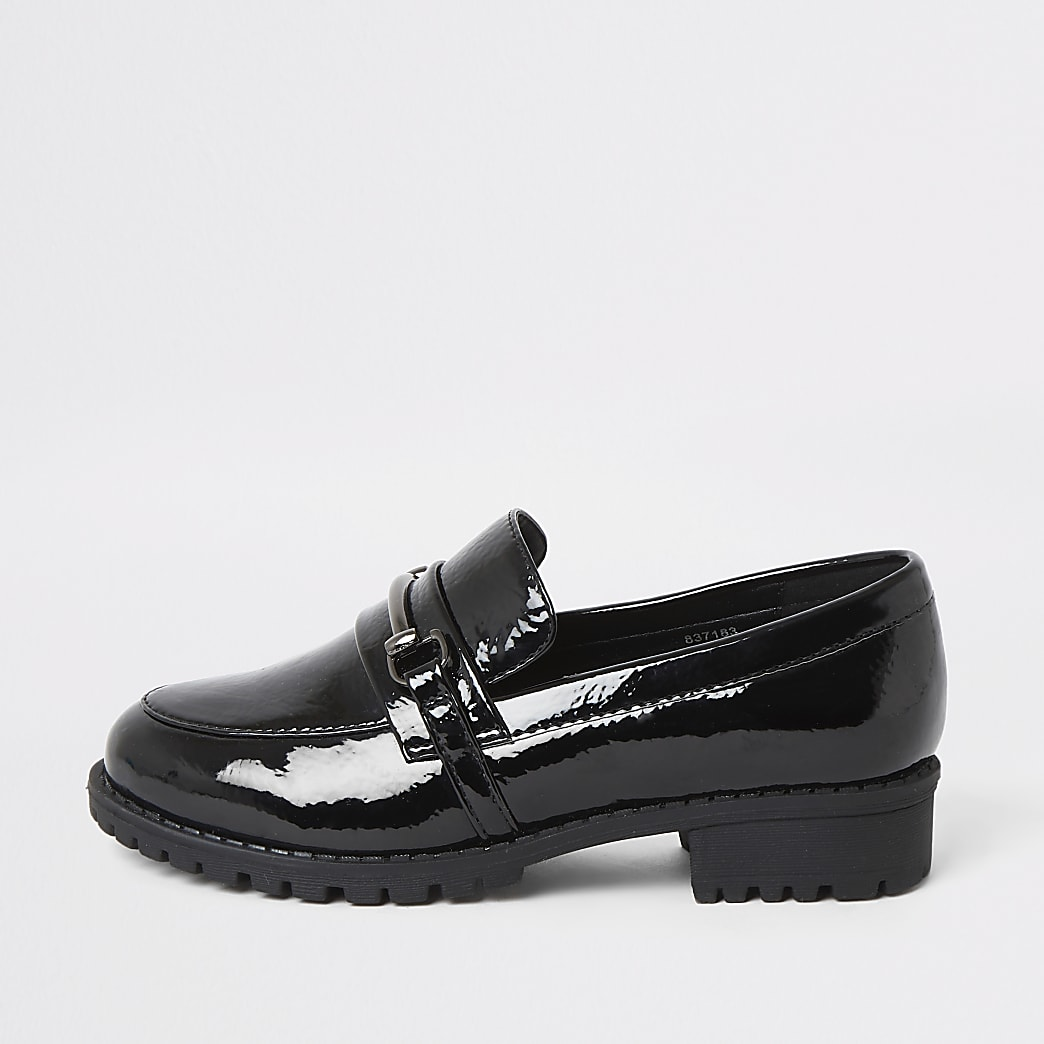 Girls black patent snaffle loafers