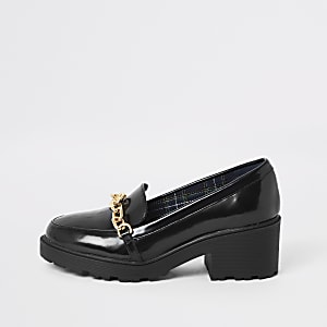 Girls black chain front heeled loafers