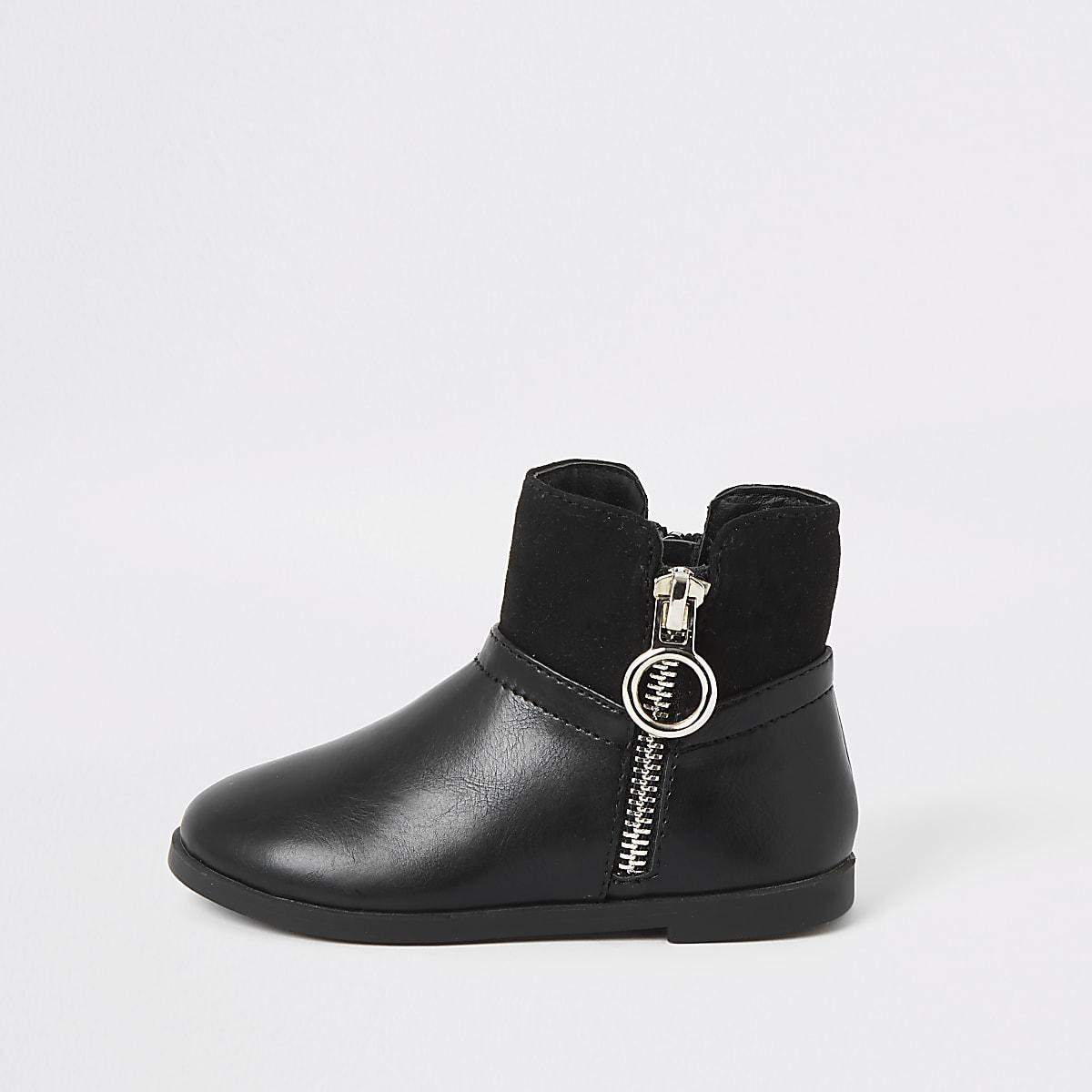 Mini girls black circle side zip boots
