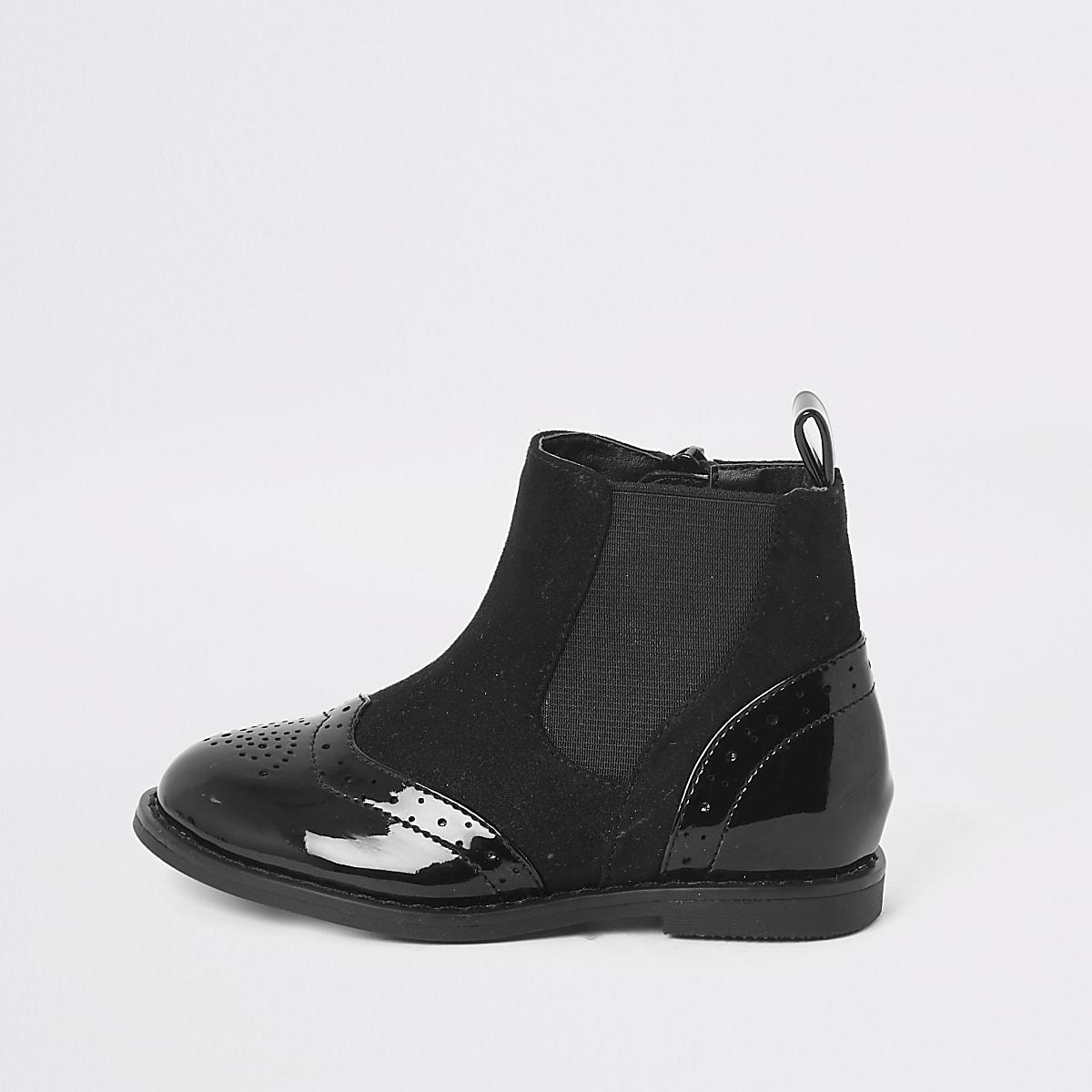 Mini girls brogue flat boot