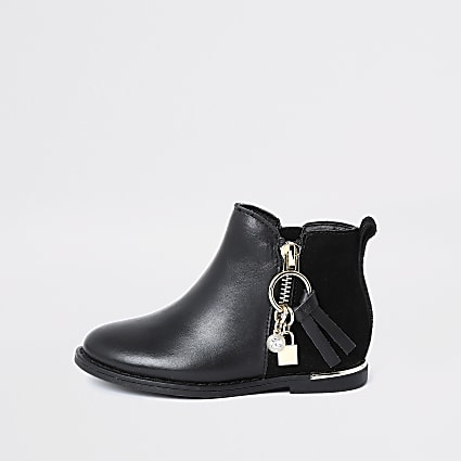 Mini girls black leather charm zip boots