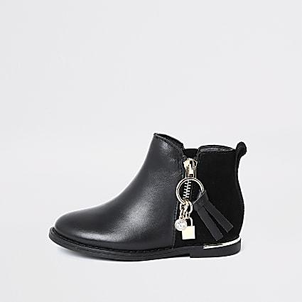 Mini girls black locket charm zip boots