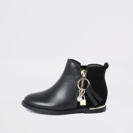 Mini girls black leather charm zip boots