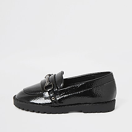 Mini girls black patent snaffle loafer