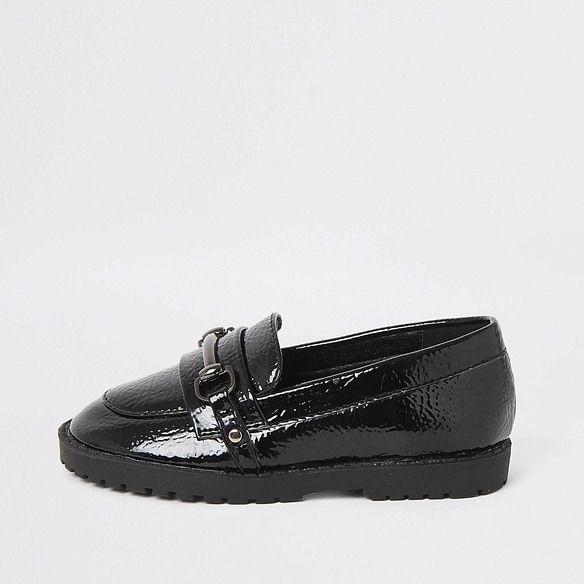Mini - Zwarte lakleren loafers met gespdetail voor meisjes