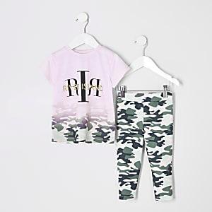 Mini - Roze T-shirtoutfit met RI-logo en vervaagde camouflageprint voor meisjes