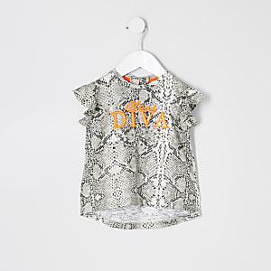 Mini - Grijze top met 'diva'- en slangenprint voor meisjes
