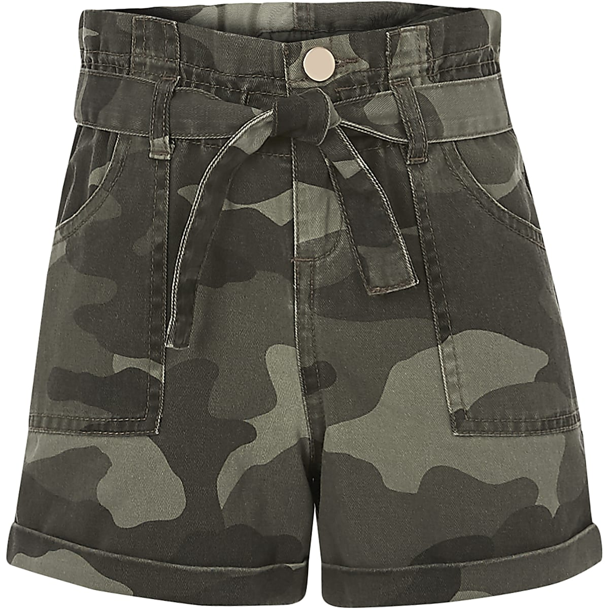 Girls khaki camo print paperbag waist shorts