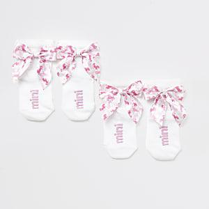 Mini - Multipack witte sokken met eenhoorn en strik voor meisjes