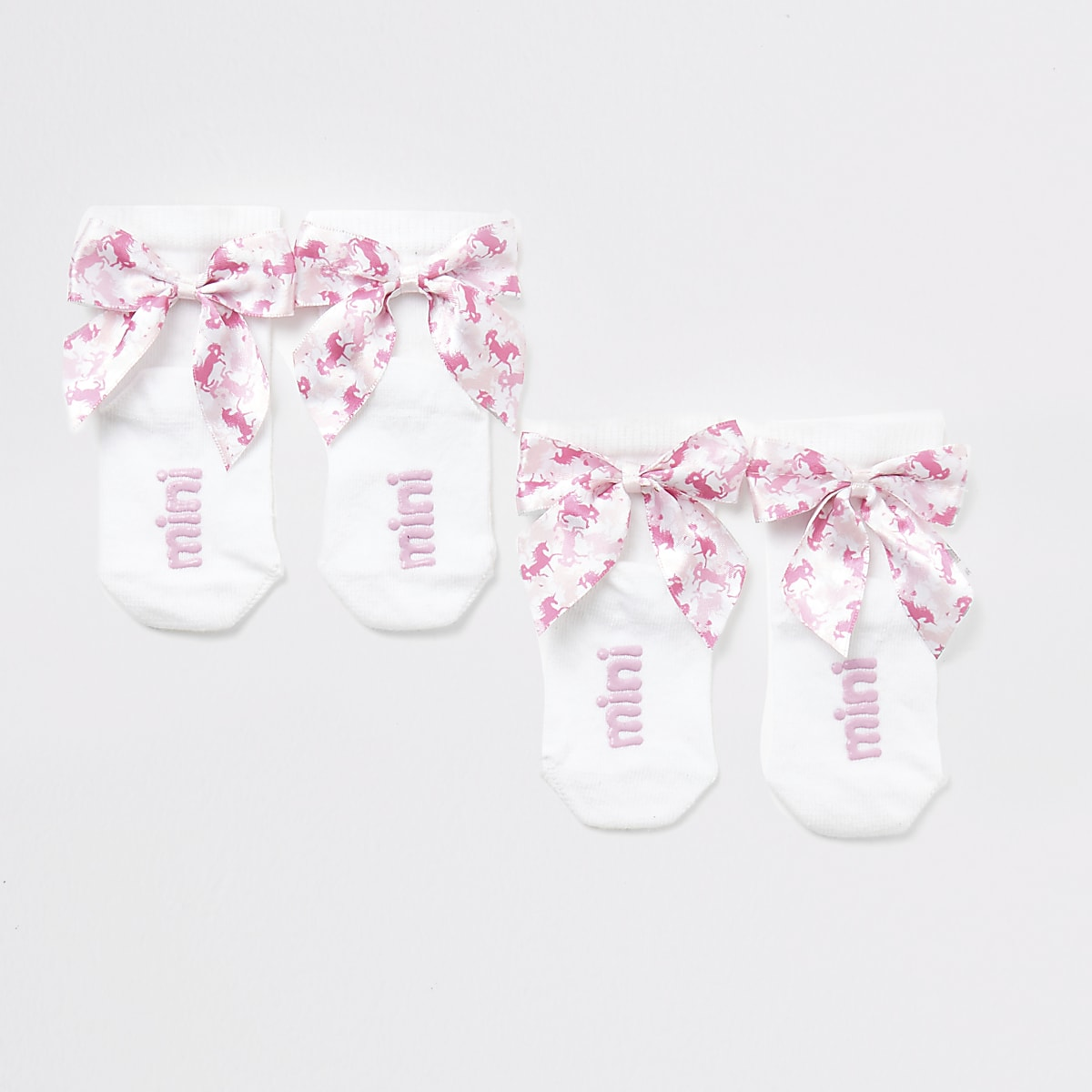 Mini girls white unicorn bow socks multipack