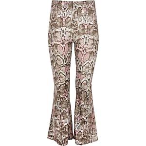 Pantalon évasé imprimé serpent rose pour fille