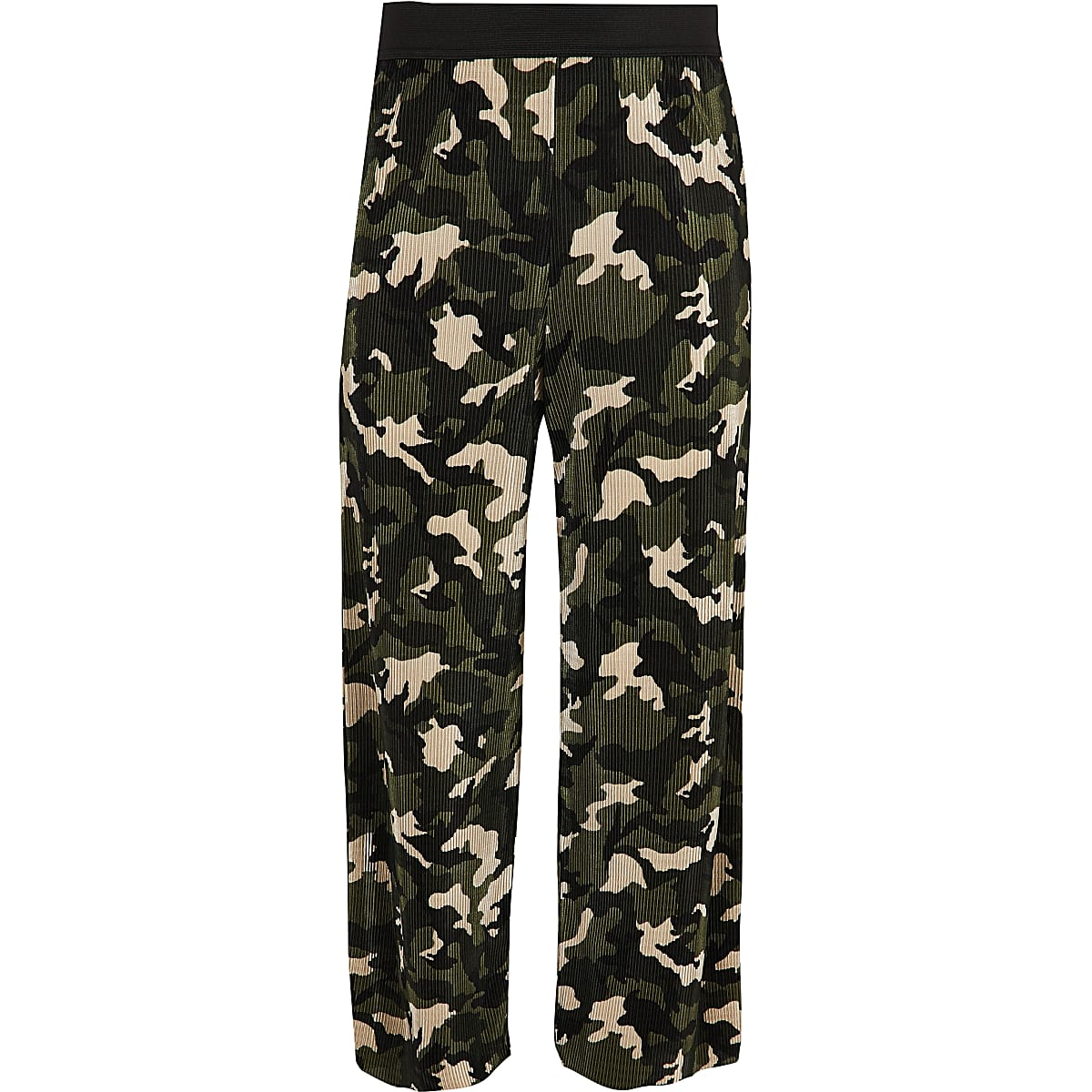 Girls khaki camo plisse trousers