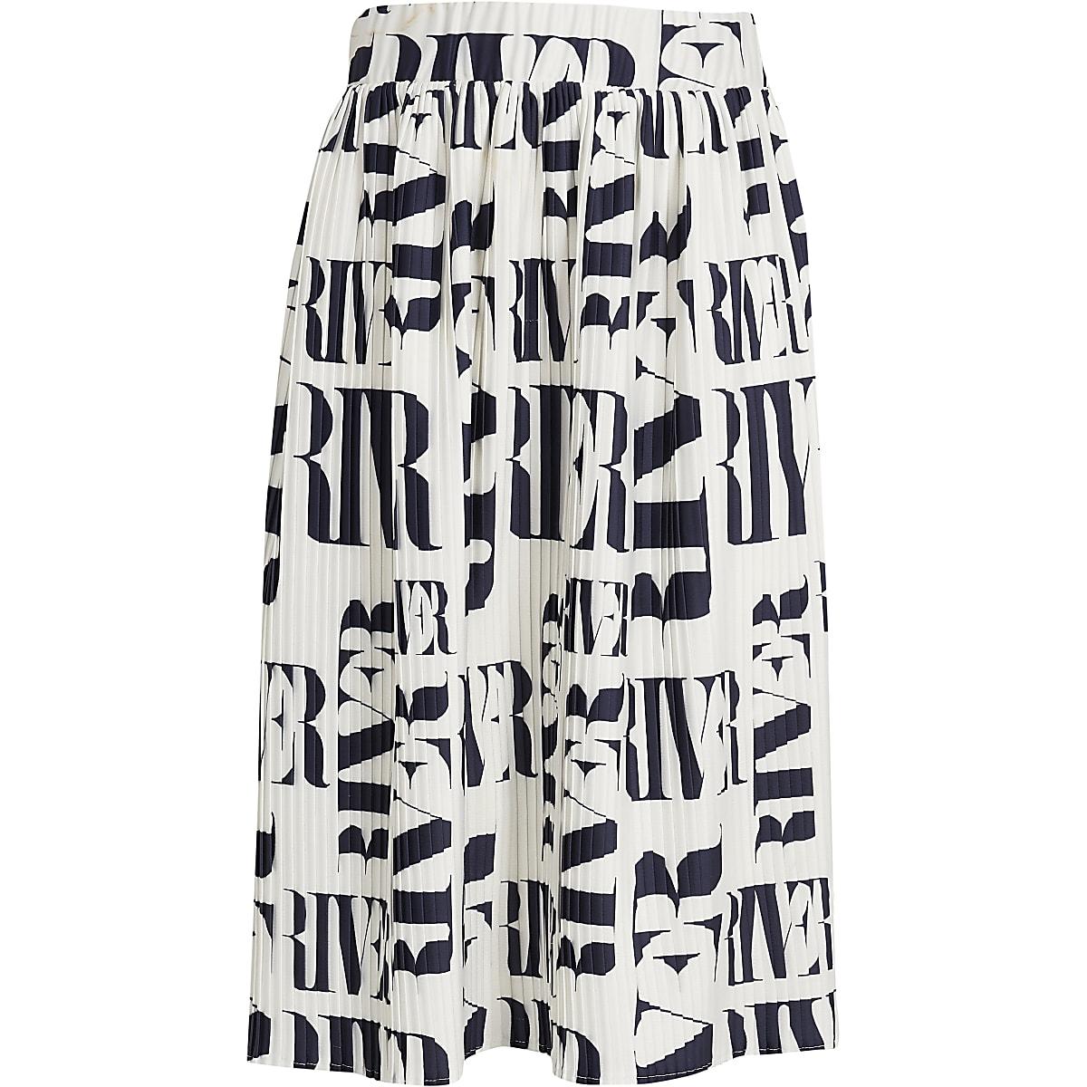Girls white RI pleated midi skirt